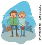 young couple on the street  ... | Shutterstock .eps vector #125136662