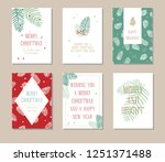 holiday greeting card set with... | Shutterstock .eps vector #1251371488