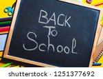 books and blackboard  school... | Shutterstock . vector #1251377692