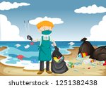 a man cleaning the beach... | Shutterstock .eps vector #1251382438