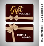 gift voucher card with ribbon... | Shutterstock .eps vector #1251388615