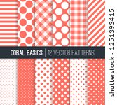 living coral gingham check... | Shutterstock .eps vector #1251393415