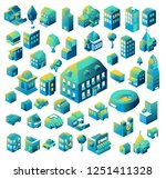 colorful isometric building... | Shutterstock .eps vector #1251411328