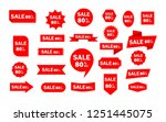 set of red sale icon banners in ... | Shutterstock .eps vector #1251445075