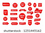 set of red sale icon banners in ... | Shutterstock .eps vector #1251445162