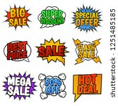 set of nine sale tags. pop art... | Shutterstock . vector #1251485185