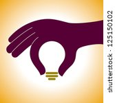 bulb idea with human hand | Shutterstock .eps vector #125150102