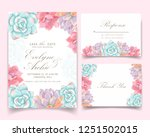 floral wedding invitation with... | Shutterstock .eps vector #1251502015
