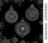 Vector Christmas tree decoration baubles line art in boho style wit ornament. Can be printed or used as design template, sticker, icon, logo, card