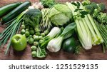 fresh green vegetables on...   Shutterstock . vector #1251529135