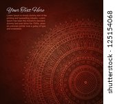 half of mandala on dark red... | Shutterstock .eps vector #125154068