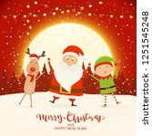 happy santa claus  elf and... | Shutterstock .eps vector #1251545248
