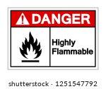 danger highly flammable symbol... | Shutterstock .eps vector #1251547792