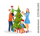 family decorating christmas... | Shutterstock . vector #1251561262