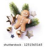 christmas element on white... | Shutterstock . vector #1251565165