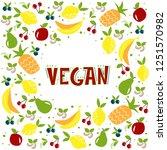 vegan. vector lettering ... | Shutterstock .eps vector #1251570982