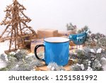 blue mug with hot  tea with... | Shutterstock . vector #1251581992