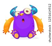 tiny little pink happy monster... | Shutterstock .eps vector #1251614512