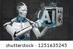 a humanoid robot with a...   Shutterstock . vector #1251635245