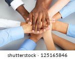 closeup of business team... | Shutterstock . vector #125165846