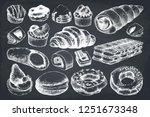 breakfast pastries and brownies ... | Shutterstock .eps vector #1251673348