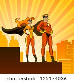 Superhero Couple: Male and female superheroes. Vector illustration isolated on a white background - stock vector