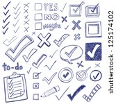 checkmarks and checkboxes drawn ... | Shutterstock .eps vector #125174102