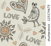 love seamless pattern with birds | Shutterstock .eps vector #125174675