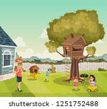 cartoon family on the backyard... | Shutterstock .eps vector #1251752488