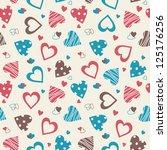 retro valentine seamless... | Shutterstock .eps vector #125176256
