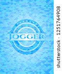 jogger sky blue emblem with... | Shutterstock .eps vector #1251764908