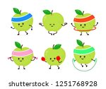 cute smiling happy strong apple ... | Shutterstock .eps vector #1251768928