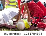 first aid after work accident   Shutterstock . vector #1251784975