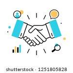 business handshake line icon ...