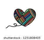 heart of yarn wool hand drawn... | Shutterstock .eps vector #1251808405