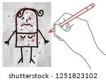 cartoon hand making scribbles... | Shutterstock . vector #1251823102