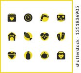 activity icons set with booth ...