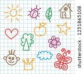 random childlike colorful... | Shutterstock .eps vector #1251865108