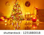 holiday table glasses of... | Shutterstock . vector #1251880018