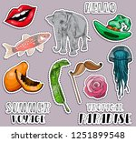 colorful exotic summer stickers ...   Shutterstock .eps vector #1251899548