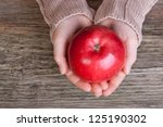 Hand With Red Apple Apple Hand