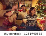 smiling friends having fun on... | Shutterstock . vector #1251940588