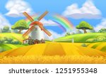 nature landscape. farm and mill.... | Shutterstock .eps vector #1251955348