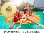 happy teens playing with... | Shutterstock . vector #1251963808