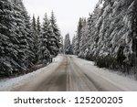 Snowy road in Tatras - stock photo