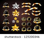 vector collection of golden and ... | Shutterstock .eps vector #125200346