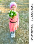 little smiling girl with... | Shutterstock . vector #1252005658