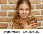 girl teenager with long hair... | Shutterstock . vector #1252005682