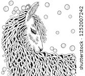 llama. coloring book page for... | Shutterstock .eps vector #1252007242