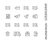 mail related icons  thin vector ... | Shutterstock .eps vector #1252013545